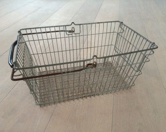 vintage metal wire shopping basket 70's
