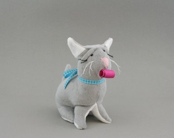 Squeeze Me Personalized Stuffed Animal Cat with Birthday Blower, Kids Gift Idea, Party Favours