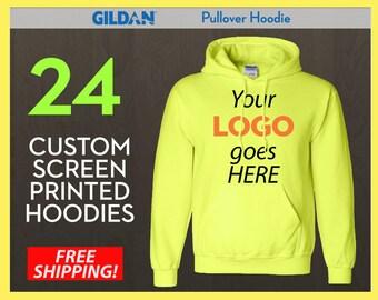 24 Custom Screen Printed Pullover Hoodies