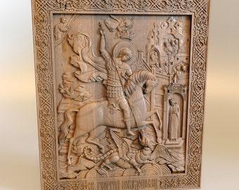 Saint George, Art Wood Carvings, home iconostasis, Orthodox, Christian, Religious Icon, Wood wall art,