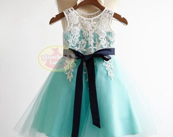 V Back Lace Turquoise Blue Tulle Flower Girl Dress Junior Bridesmaid Wedding Party DressF0022