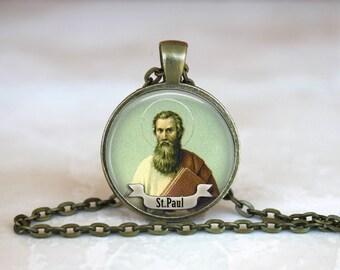 Glass Tile Pendant Saint Paul Pendant Necklace Saint Paul Jewelry Catholic Christian Pendant Necklace Saint Paul 1 Inch Round