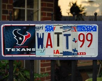 WATT 99 / Houston Texans license plate sign