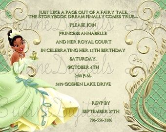 Tiana Inspired Birthday Invitation, Princess & The Frog Party Invite featuring Tiana, Princess Party Invite