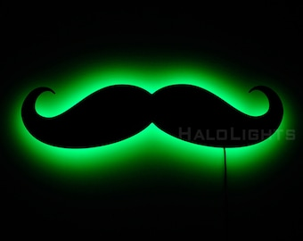 Lighted Mustache Sign, Wall Lightm and Moustache Decor
