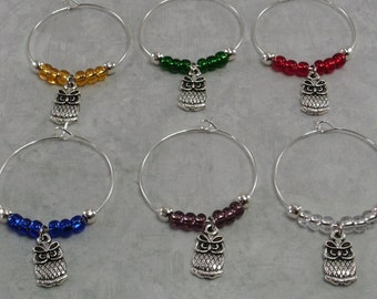 Owl Wine Charms, Owl Wine Glass Markers, Owl Gift