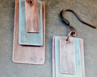 Copper  and Silver Earrings~ Artisan Earrings~ Boho Earrings