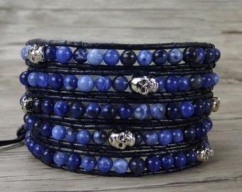 5 wraps bracelet Sodalite bead bracelet men skull bracelet yoga bead leather bracelet Navy boho wrap bracelet chic gemstone bracelet SL-0269