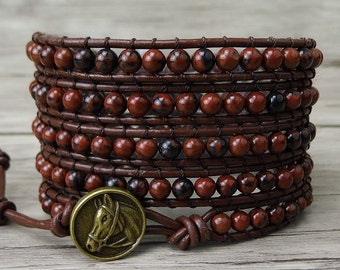 Red Wrap bracelet boho beaded bracelet boho leather bracelet yoga wrap bracelet western wrap bracelet Natural stone bracelet Jewelry SL-0172