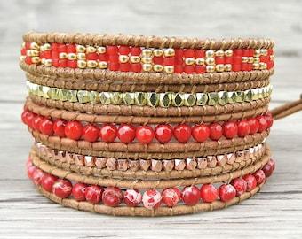 Leather wrap bracelet Red bead bracelet beaded leather bracelet 4mm beaded bracelet Jasper bracelet gypsy wrap bracelet bohemian SL-0229