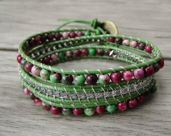 bead wrap bracelet jasper bead bracelet chain wrap bracelet 3 wraps bracelet leather wrap bracelet gypsy bracelet yoga wrap bracelet SL-0246