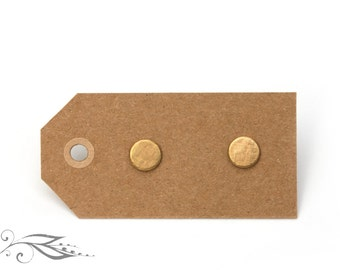 Structured circle - hand-soldered earrings 7 mm made of brass and stainless steel