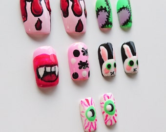 halloween false nails vampire blood drip evil bunnies