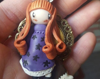Doll fimo brooch