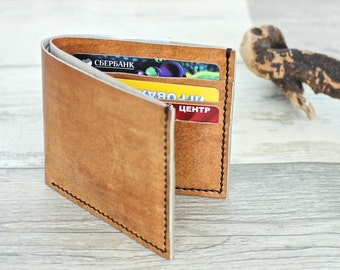 Leather wallet men leather purse minimalist wallet women leather cardholder wallet travel cash holder card case ladies walletFree gift