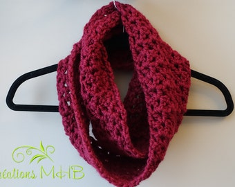 Crocheted Burgundy Infinity Cowl