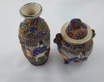 Vintage Asian Pottery Vase and Three Leg Bowl