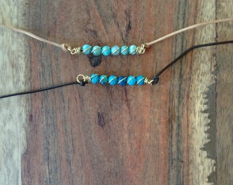 Small Beaded Turquoise Choker Necklace