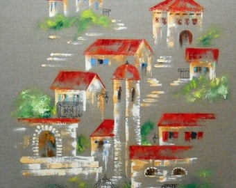 Big painting of a village of mountain on linen