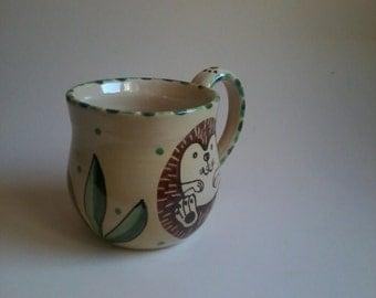 Large handmade pottery hedgehog mug,hedgehog beaker cup,hedgehog coffee cup,hedgie,hedgehog gift,folk art, dancingharepottery, hedgehogs,mug