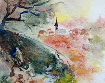French village original watercolor, village in France watercolour, french village original painting