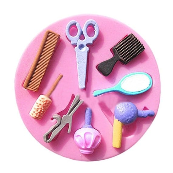 Beauty Makeup Silicone Mold 2 Scissors Brush Hair