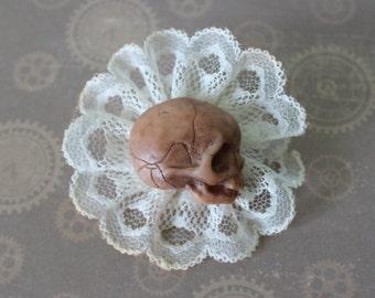 Brooch Baby Skull  Polymer clay