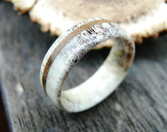 Deer Antler Ring with Walnut Wood, Wedding Ring, Engagement Ring, Deer Antler Ring, Mens Ring, Bone Ring
