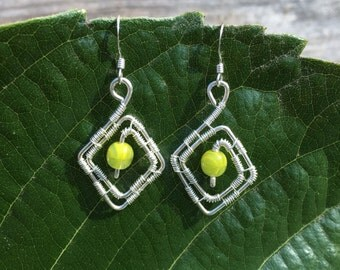 Handmade Sterling Silver Wire Wrapped Earrings With Glass Bead Accent
