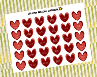 Funny Anti-Valentines Day Stickers (MINI SHEET)