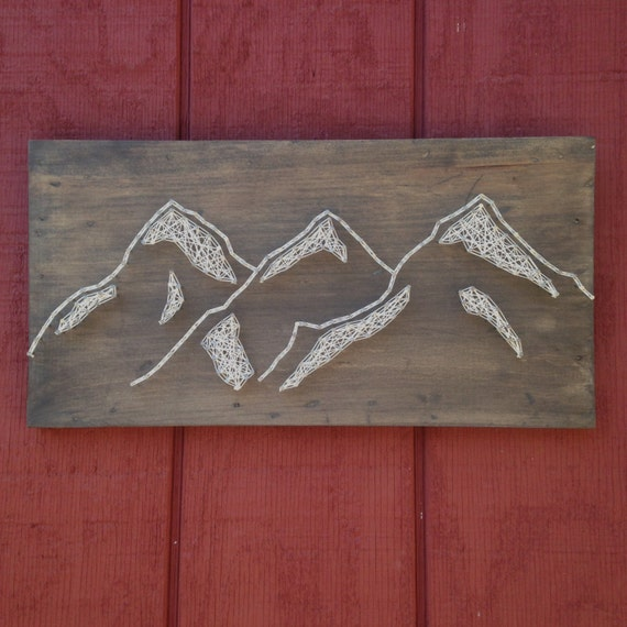 Mountain Range - Rustic Nail Art - Mountains - Landscape Art - Rustic Wooden Board - Outdoors Sign - Handcrafted - Wall Art - Home Decor