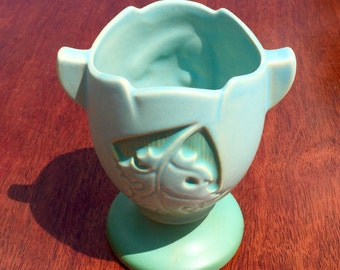 Roseville Pottery Matte Blue/ Green Silhouette Oak Leaf Vase #779-5