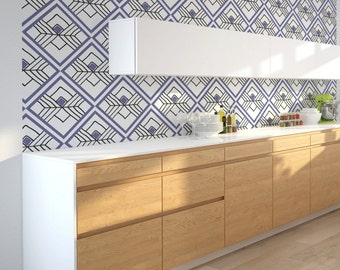 Geometric Wallpaper, Self Adhesive or Paste & Glue Wallpaper, Kitchen Interior Design