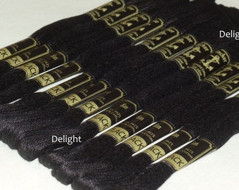 Beautiful 12 Black Anchor Cross / Long Stitch Cotton Embroidery Thread skeins / Floss