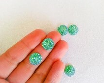 12mm Light Sage Green Faux Druzy Cabochon with Iridescent AB Finish - 10 pcs