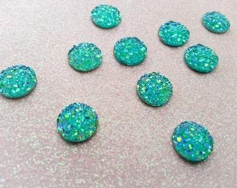 10mm Aqua, Turquoise Blue AB Iridescent Faux Druzy Cabochon - 10 pcs: 10-DRUZ-F01