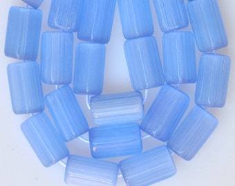 5 Sided Czech Glass Beads - 12mm x 7mm - Shiny Blue Luster - Qty 25