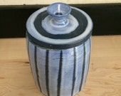 Blue and White Striped Ceramic Handmade Canister
