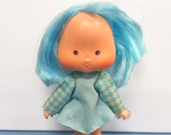 Vintage Strawberry Shortcake Blueberry Muffin Doll 80s, Blue Dress, KENNER, Made in Hong Kong