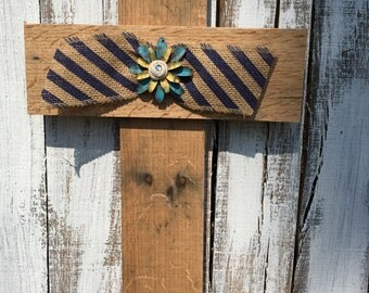 Reclaimed Pallet Wood Cross Navy Burlap Ribbon Metal Flower Embellishment