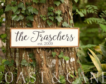 Established Sign Last name sign Home sign Family name sign Family name Farmhouse sign Wood established Painted last name Housewarming gift