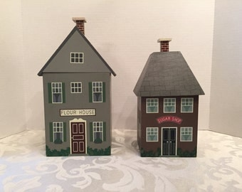 Cute Vintage Wooden Flour and Sugar Containers painted on all 4 sides with plastic liners  Flour House & Sugar Shop