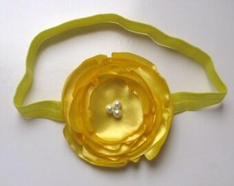 Yellow singed flower headband, yellow flower headband, yellow spring flower headband,spring, summer flower headband, yellow headband
