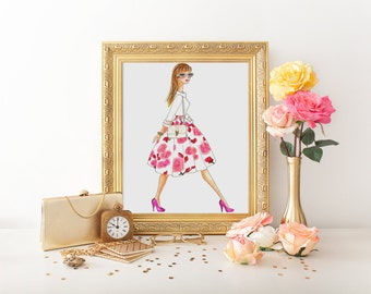 Fashion Illustration, Print fashion illustration, sketch. Art decor. Home decor. Fashion sketch. Ilustracion. Art