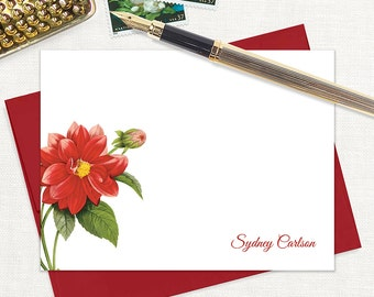 personalized flat note cards - RED DAHLIA FLOWER - set of 12 cards - stationery - stationary - botanical - floral - red envelopes