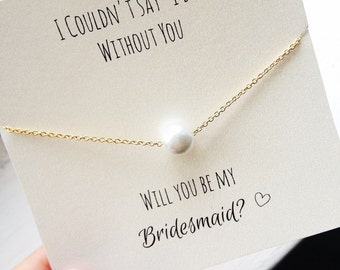 FREE SHIPPING, Pearl Necklace, gold, silver, will you be my bridesmaid, bridesmaid proposal, card, ask bridesmaid, bridesmaid necklace