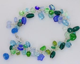 Ocean Wave-Aqua blue green Czech Glass Bead Sterling Silver Bracelet, Cluster Bracelet
