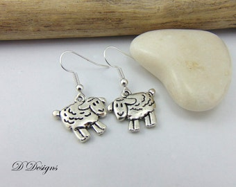 Sheep Earrings,  Silver Sheep Earrings, Sheep Gifts, Sheep Jewelry, Charm Earrings, Novelty Earrings, Funky Earrings, Gifts for Her,