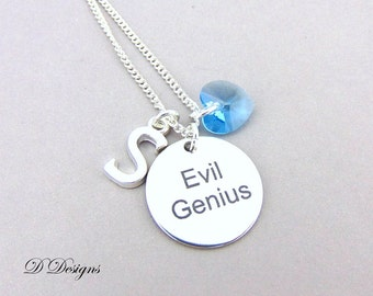 Personalised Necklace, Evil Genius necklace, Funny Quote Necklace, Intellectual Necklace, Personalised Jewellery, Sterling Silver Necklace,