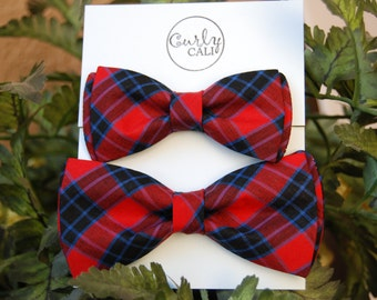 Father/ Son Holiday Plaid Bow Tie Set